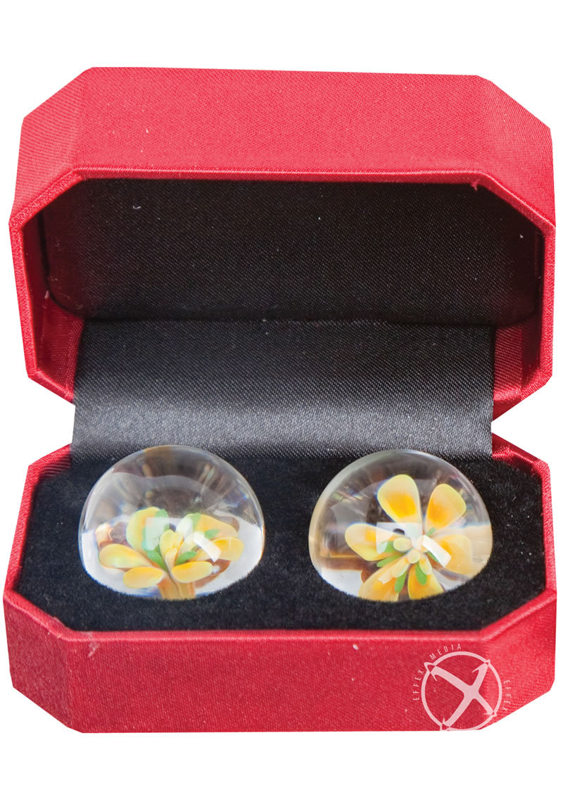 Adam And Eve Cyberglass Ben Wa Balls Yellow Blossom Waterproof