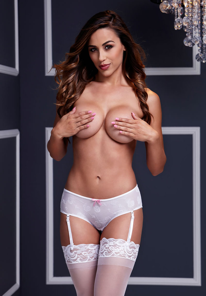 White Rose Open Crotch Boyshort Panty Xl