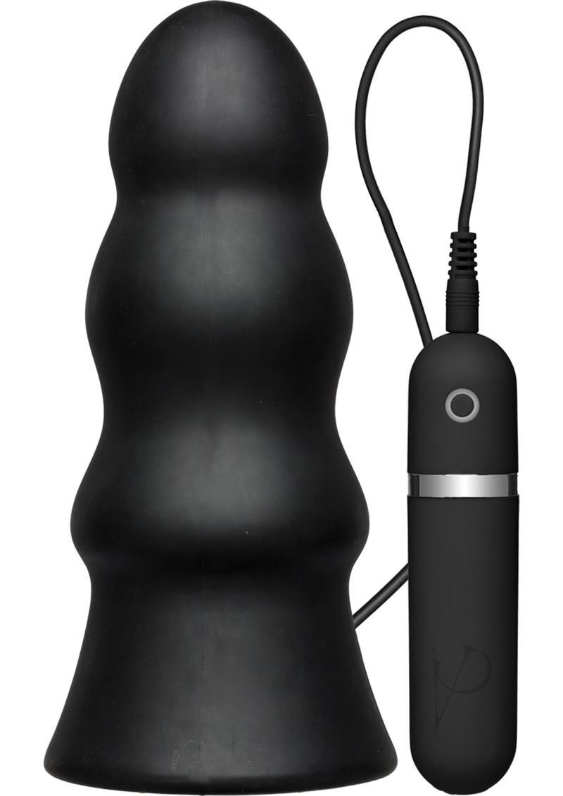 Kink Vibrating Silicone Butt Plug Rippled With Wired Remote Control Waterproof Black 7.5 Inch